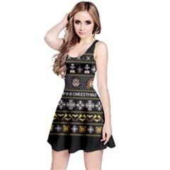 Merry Nerdmas! Ugly Christma Black Background Reversible Sleeveless Dress