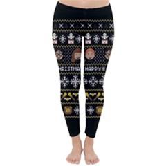 Merry Nerdmas! Ugly Christma Black Background Classic Winter Leggings