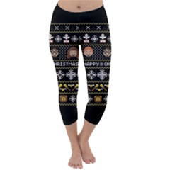 Merry Nerdmas! Ugly Christma Black Background Capri Winter Leggings