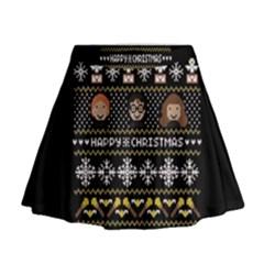 Merry Nerdmas! Ugly Christma Black Background Mini Flare Skirt
