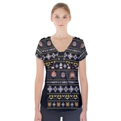 Merry Nerdmas! Ugly Christma Black Background Short Sleeve Front Detail Top