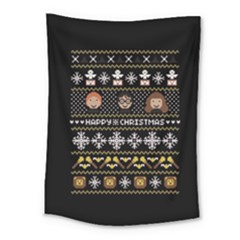 Merry Nerdmas! Ugly Christma Black Background Medium Tapestry