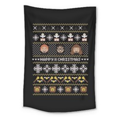 Merry Nerdmas! Ugly Christma Black Background Large Tapestry