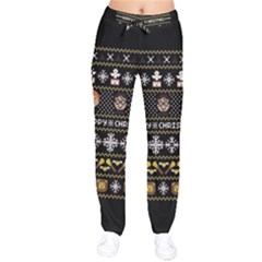 Merry Nerdmas! Ugly Christma Black Background Drawstring Pants