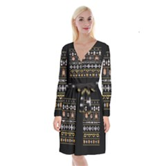 Merry Nerdmas! Ugly Christma Black Background Long Sleeve Velvet Front Wrap Dress