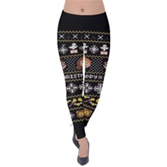 Merry Nerdmas! Ugly Christma Black Background Velvet Leggings