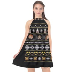 Merry Nerdmas! Ugly Christma Black Background Halter Neckline Chiffon Dress