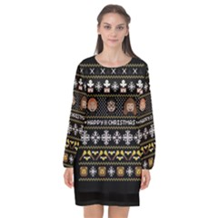 Merry Nerdmas! Ugly Christma Black Background Long Sleeve Chiffon Shift Dress
