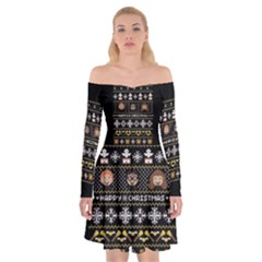 Merry Nerdmas! Ugly Christma Black Background Off Shoulder Skater Dress