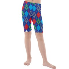 Minecraft Ugly Holiday Christmas Kids  Mid Length Swim Shorts