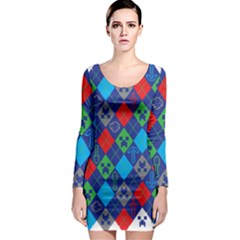Minecraft Ugly Holiday Christmas Long Sleeve Bodycon Dress