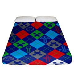 Minecraft Ugly Holiday Christmas Fitted Sheet (King Size)