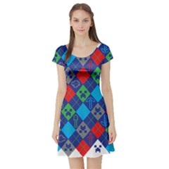 Minecraft Ugly Holiday Christmas Short Sleeve Skater Dress
