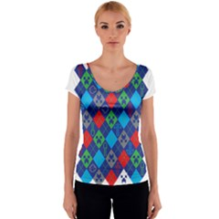 Minecraft Ugly Holiday Christmas Women s V-Neck Cap Sleeve Top