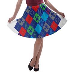 Minecraft Ugly Holiday Christmas A-line Skater Skirt