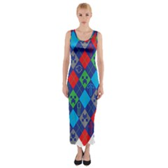 Minecraft Ugly Holiday Christmas Fitted Maxi Dress