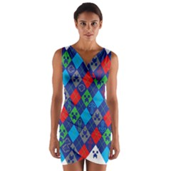 Minecraft Ugly Holiday Christmas Wrap Front Bodycon Dress