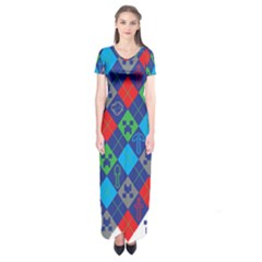 Minecraft Ugly Holiday Christmas Short Sleeve Maxi Dress