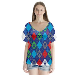 Minecraft Ugly Holiday Christmas Flutter Sleeve Top