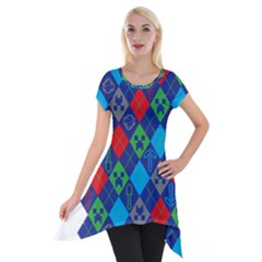Minecraft Ugly Holiday Christmas Short Sleeve Side Drop Tunic