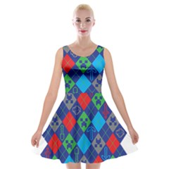 Minecraft Ugly Holiday Christmas Velvet Skater Dress