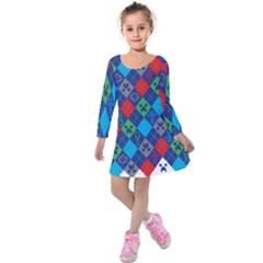 Minecraft Ugly Holiday Christmas Kids  Long Sleeve Velvet Dress