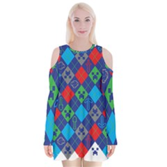 Minecraft Ugly Holiday Christmas Velvet Long Sleeve Shoulder Cutout Dress