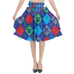 Minecraft Ugly Holiday Christmas Flared Midi Skirt