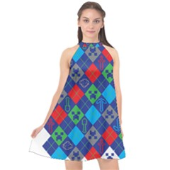 Minecraft Ugly Holiday Christmas Halter Neckline Chiffon Dress