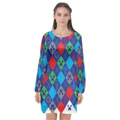Minecraft Ugly Holiday Christmas Long Sleeve Chiffon Shift Dress