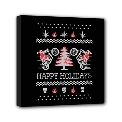 Motorcycle Santa Happy Holidays Ugly Christmas Black Background Mini Canvas 6  x 6