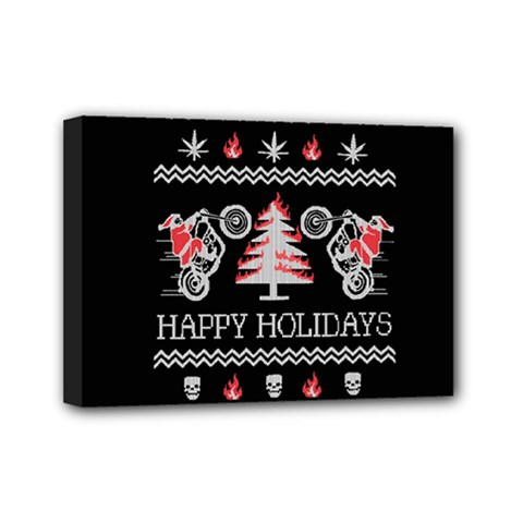 Motorcycle Santa Happy Holidays Ugly Christmas Black Background Mini Canvas 7  x 5