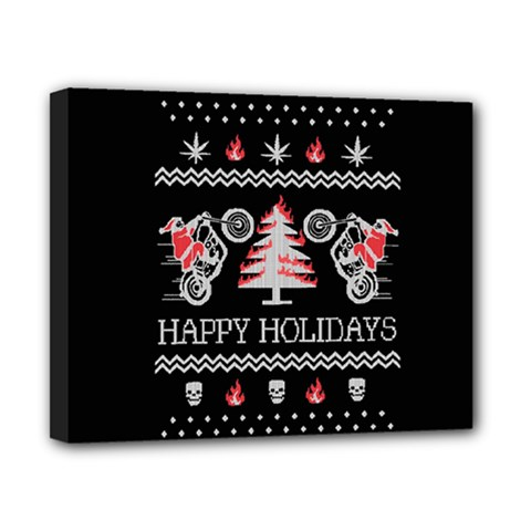 Motorcycle Santa Happy Holidays Ugly Christmas Black Background Canvas 10  x 8