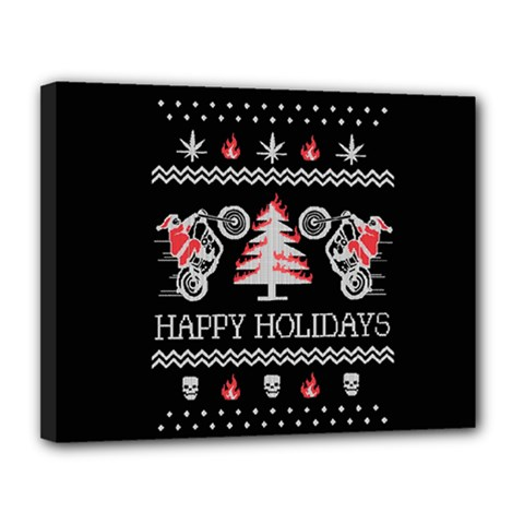 Motorcycle Santa Happy Holidays Ugly Christmas Black Background Canvas 14  x 11