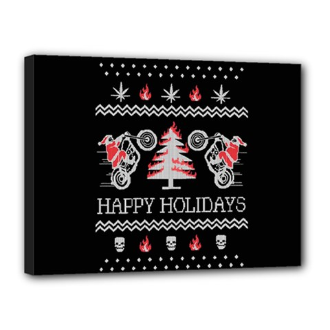 Motorcycle Santa Happy Holidays Ugly Christmas Black Background Canvas 16  x 12