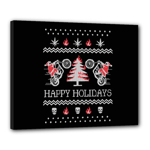 Motorcycle Santa Happy Holidays Ugly Christmas Black Background Canvas 20  x 16
