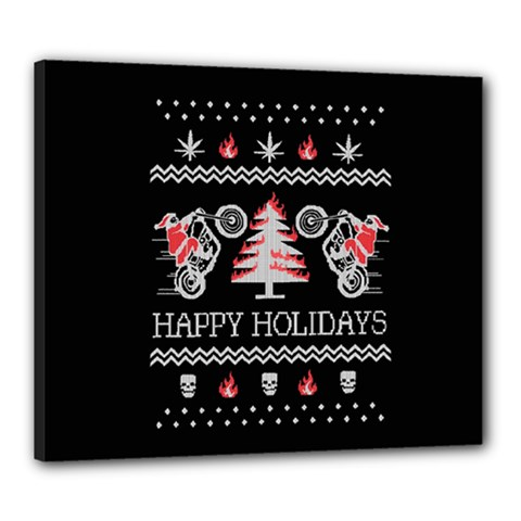Motorcycle Santa Happy Holidays Ugly Christmas Black Background Canvas 24  x 20