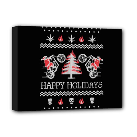 Motorcycle Santa Happy Holidays Ugly Christmas Black Background Deluxe Canvas 16  x 12