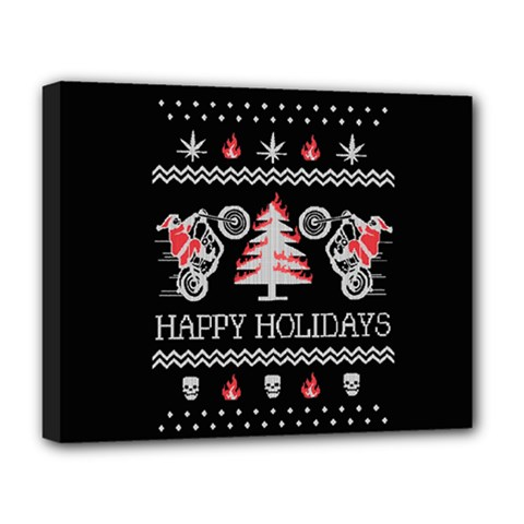 Motorcycle Santa Happy Holidays Ugly Christmas Black Background Deluxe Canvas 20  x 16