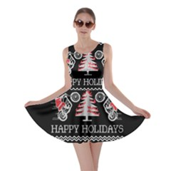 Motorcycle Santa Happy Holidays Ugly Christmas Black Background Skater Dress