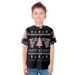 Motorcycle Santa Happy Holidays Ugly Christmas Black Background Kids  Cotton Tee
