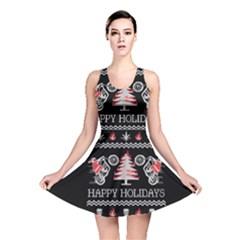 Motorcycle Santa Happy Holidays Ugly Christmas Black Background Reversible Skater Dress