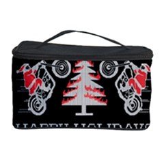 Motorcycle Santa Happy Holidays Ugly Christmas Black Background Cosmetic Storage Case