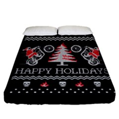 Motorcycle Santa Happy Holidays Ugly Christmas Black Background Fitted Sheet (Queen Size)