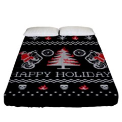 Motorcycle Santa Happy Holidays Ugly Christmas Black Background Fitted Sheet (King Size)