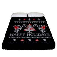 Motorcycle Santa Happy Holidays Ugly Christmas Black Background Fitted Sheet (California King Size)