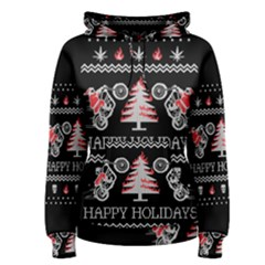 Motorcycle Santa Happy Holidays Ugly Christmas Black Background Women s Pullover Hoodie