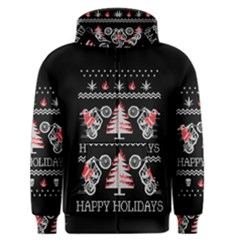 Motorcycle Santa Happy Holidays Ugly Christmas Black Background Men s Zipper Hoodie