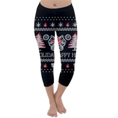Motorcycle Santa Happy Holidays Ugly Christmas Black Background Capri Winter Leggings