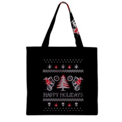 Motorcycle Santa Happy Holidays Ugly Christmas Black Background Zipper Grocery Tote Bag